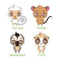 Set of smaller sized primates vector