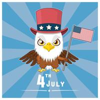 Patriotic eagle holding the flag of USA vector