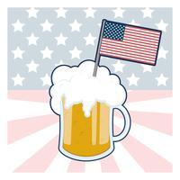 Bicchiere di birra con la bandiera degli Stati Uniti
