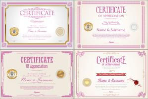 Set of Achievement certificate design with seals vector