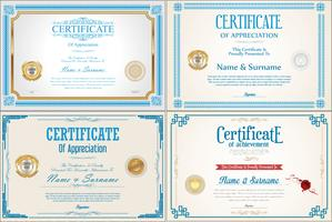 CertificateSet of Achievement certificate design with seals  vector