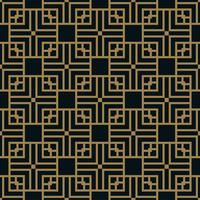 Abstract square geometric pattern with lines. seamless vector gold  background.