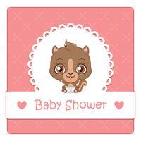 De douchekaart van de baby met leuke eekhoorn
