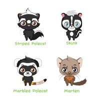 Set of poelcat and badger species