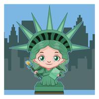 Ilustración de dibujos animados estatua de la libertad