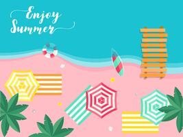 Summer vacation, Summer beach poster vector illustration