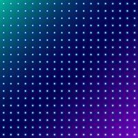 Abstrakte Punkte, die Radialmuster auf blauem Raumhintergrund glühen.