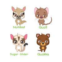 Conjunto de pequeñas especies animales marsupiales.