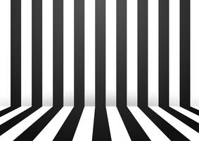 Black and White Abstract stripe wall room background. Vector Illustration.