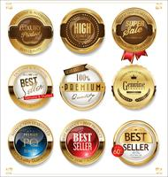 White and gold badges luxury vector collection