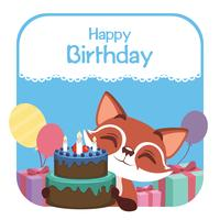 Birthday illustration with cute fox