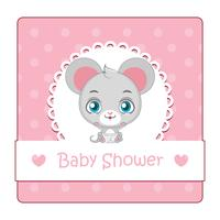 Cute sign for baby shower with mouse