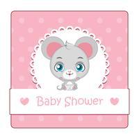 Leuk teken voor baby shower met muis