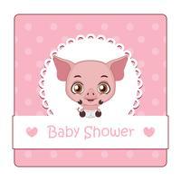 Leuk teken voor babydouche met varken