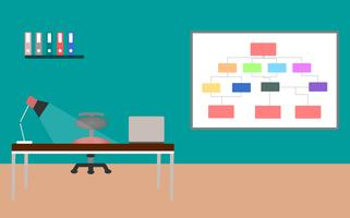 Escritorio de oficina con diseño interior del ordenador portátil y de la lámpara sobre fondo del color. ilustración vectorial