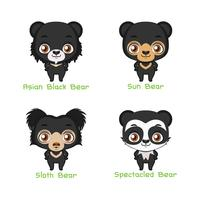 Set of black colored bear species
