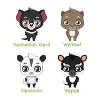 Conjunto de especies animales australianas.