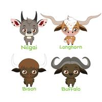 Collection of horned animal species