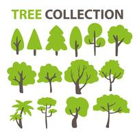 Flat tree collection For decorating the background of a cartoon tree