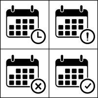 Kalender vektorikonen. isolera på vit bakgrund.