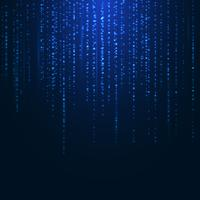 Abstract bright blue magic sparkling glitter particles lines on dark background.