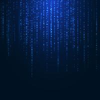 Linhas de partículas sparkling mágicas azuis brilhantes abstratas do brilho no fundo escuro.