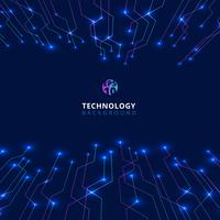 Abstract technology lines with lighting glow futuristic perspective on dark blue background.