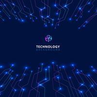 Linee astratte tecnologia con illuminazione incandescente prospettiva futuristica su sfondo blu scuro.