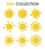 El colorido sol de dibujos animados en un formato simple.