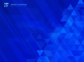 Abstract lines and triangles pattern technology on blue gradients background.