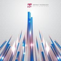 Tecnología abstracta Líneas rectas de color azul y rojo con efecto de iluminación lazer sobre fondo de perspectiva de patrón hexagonal.