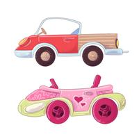 Set of cute cartoon truck and cabriolet for kids illustration. Vector in hand drawing style.
