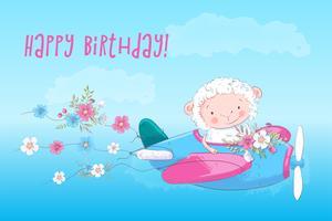 Cartel de la ilustración para la habitación de los niños imprimir ovejas de dibujos animados lindo en un avión con flores. Vector