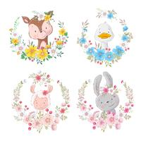 Set cartoons cute animals deer duck lama hare in flower wreaths for children illustration. Vector