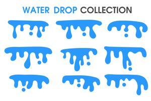 Waterdruppels en watergordijnen in een eenvoudige platte cartoonstijl.