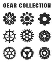 Gear tooth icon set, parted on a white background. vector