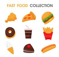Junk food or fast food Collection set. vector