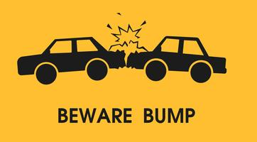 Beware bump. Signs to reduce road accidents. Vector illustration.