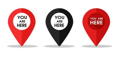 Pin icon for telling the location on the map or GPS. Vector Illustration