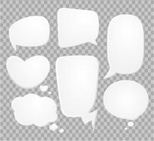 Comic speech bubbles on halftone transparent background.