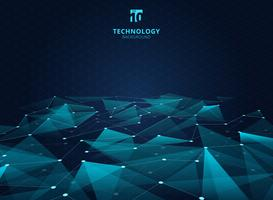 Abstract technology blue color triangles and low polygon with lines connecting dots structure perspective on grid background.