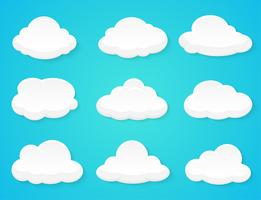 Flat vector clouds Decorated separately from the background