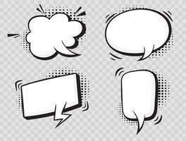 Comic speech bubbles on halftone transparent background. vector