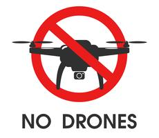 Prohibition Signs. Do not use drones in this area.