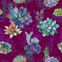 Seamless pattern with succulents on Burgundy background. Graphics. Watercolor.