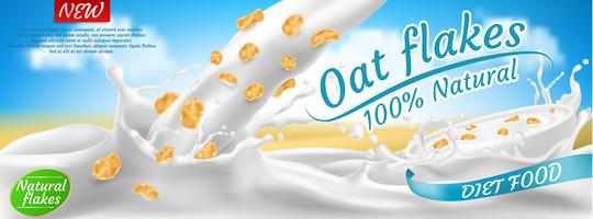 Vector promotion banner of oat flakes in milk