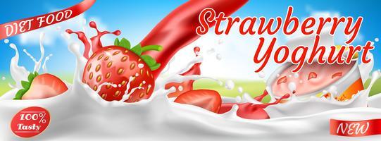 Vektor realistisk färgstark banner för yoghurt annonser