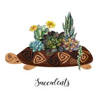 A bouquet of succulents in a flower pot in the form of a turtle. Graphics and watercolor spots. Vector