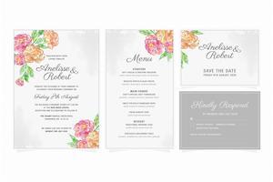 Floral bruiloft briefpapier instellen
