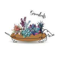 Succulents. Composition of flowers in a flower pot in the form of a dog Dachshund. Graphics. Watercolor. Vector.